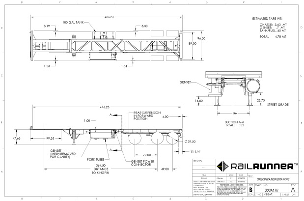 40' Reefer Chassis Drawing